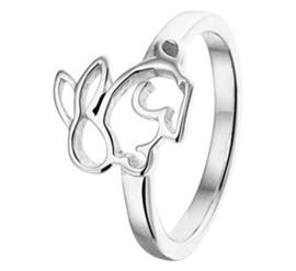 Zilveren Vlakke Ring voor Kinderen met Opengewerkt Konijntje