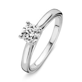 Excellent Jewelry Bolstaande Witgouden Ring met 0,74 crt. Briljant