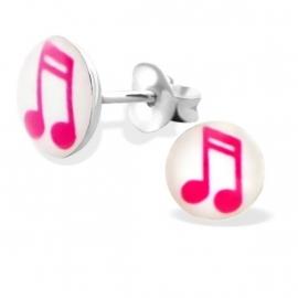 Vlotte Muzieknootjes Zilveren Oorbellen