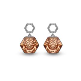 Favo Oorbellen met Bronskleurig Swarovski Kristal van Spark