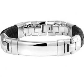 Robuuste Edelstalen Graveer Armband met Zwart Leer