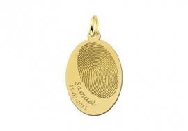 Names4ever Gouden Ovaal Hanger met Vingerafdruk