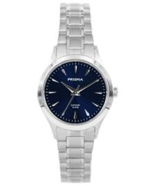 Zilverkleurig Dames Horloge met Blauwe Wijzerplaat