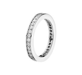 Gepolijste Vlakke Ring van Gerhodineerd Zilver met Zirkonia's