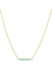Gouden Collier met Turquoise Bolletjes