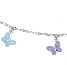 Zilveren Jasseron Collier met Emaille Vlinder Hangers voor Kids