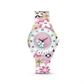 Roze Horloge voor Kids met Kleurrijke Bloemen van Colori Junior