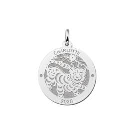 Ronde Chinese Sterrenbeeld Tijger Hanger van Zilver