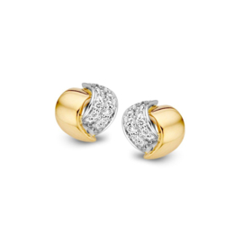 Excellent Jewelry Bicolor Oorstekers met Witgouden Briljant Strook