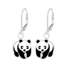 Zilveren Oorhangers Panda Brisure Sluiting