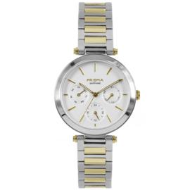 Prisma Zilver- en Goudkleurig Dames Horloge met Moderne Schakelband