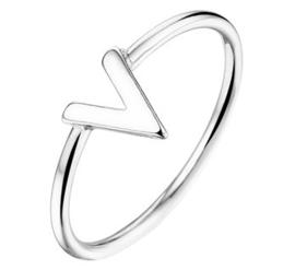 Kleine V Ring van Gerhodineerd Zilver