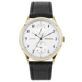 Goudkleurig Edelstalen Heren Horloge met Zwarte Horlogeband