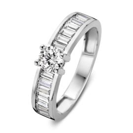 Excellent Jewelry Brede Witgouden Ring met Langwerpige Zirkonia's