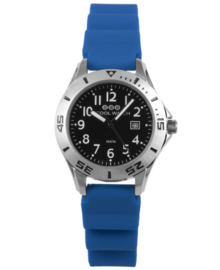 Jongens Horloge met Zilverkleurige Kast en Blauwe Horlogeband