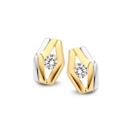 Excellent Jewelry Bicolor Gehoekte Oorstekers met Zirkonia