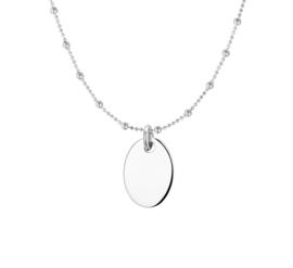 Zilveren Collier met een Ovaalvormige Hanger voor Initialen of Naam