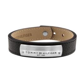 Tommy Hilfiger Brede Heren Armband van Zwart Leder TJ2790179
