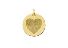 Ronde Hanger met Tweedelige Hartvormige Vingerafdruk van Goud Names4ever