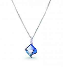 Kubus Blauwe Swarovski Ketting van Spark Jewelry