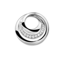 Cirkel Twist Hanger van Gepolijst Zilver met Zirkonia Rij