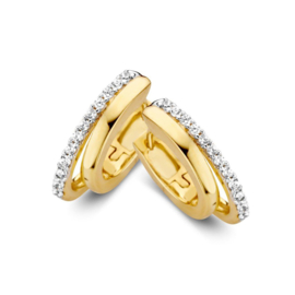 Excellent Jewelry Geelgouden Creolen met Zirkonia Rij