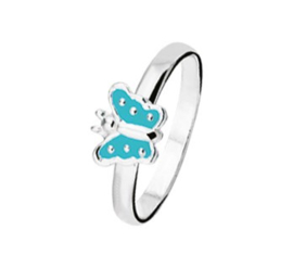 Zilveren Ring voor Kinderen met Blauwe Vlinder