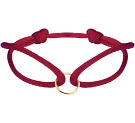Bordeaux Rode Armband van Satijn met Gouden Cirkel