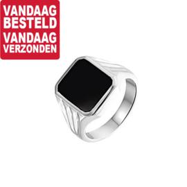 Vierkante Zwarte Onyx Steen Zegelring van Zilver / Maat 20