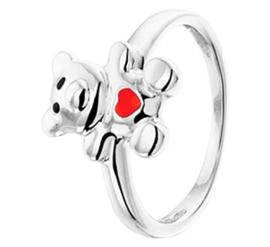 Zilveren Ring met Rhodium en Beertje met Emaille
