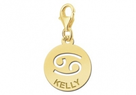 Names4ever Zodiac-Bedel Kreeft in massief goud GBS004