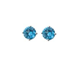 Blauwe Zirkonia Oorknoppen van Gepolijst Zilver
