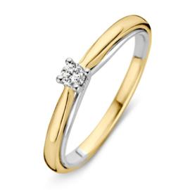 Excellent Jewelry Bolstaande Bicolor Ring met 0,10 crt. Briljant