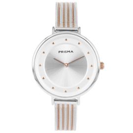 Robuust Zilverkleurig Dames Horloge van Prisma met Roségoudkleur