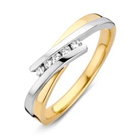 Excellent Jewelry Bicolor Ring met Diagonale Strook met Diamanten