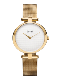 Goudkleurig Ring-O Dames Horloge met Milanese Horlogeband van M&M