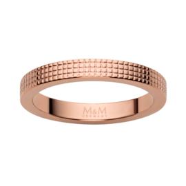 Roségoudkleurige Ring met Vierkantjes Patroon van M&M