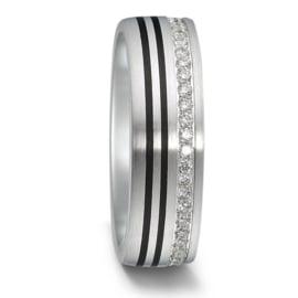 Brede Matte Zilveren Dames Trouwring met Carbon Lijnen en Diamanten