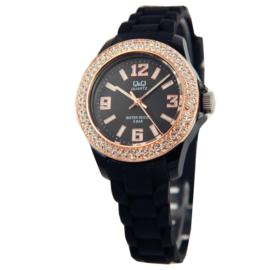 Zwart Kids Horloge van Q&Q met Zirkonia's en Roségoudkleurige Rand