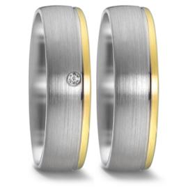 Zilveren met 9 Karaats Trouwringen Set met Diamant
