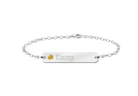 Kimmy Bar Armband van Zilver met Naam en Geboortesteen > Names4ever