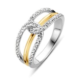Excellent Jewelry Witgouden Ring met Geelgouden Strook en Diamanten