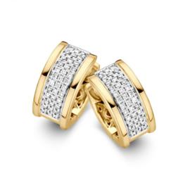 Excellent Jewelry Geelgouden Creolen met Witgouden Diamant Strook