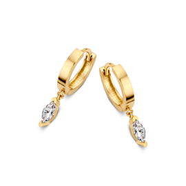 Excellent Jewelry Geelgouden Creolen met Bladvormige Zirkonia