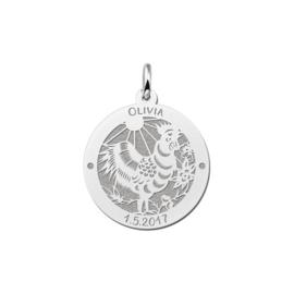 Ronde Chinese Sterrenbeeld Haan Hanger van Zilver