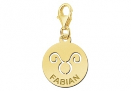 Names4ever Zodiac-Bedel Stier in massief goud GBS002