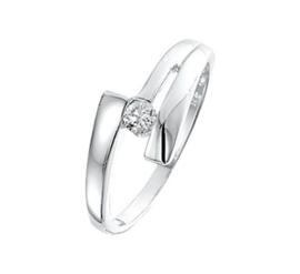 Abstracte Glanzende Ring van Gepolijst Zilver met Zirkonia