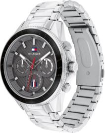 Tommy Hilfiger Zilverkleurig Heren Horloge met Donkergrijze Wijzerplaat