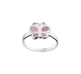 Ring voor Kinderen met Parelmoer Roze Vlinder / Maat 14