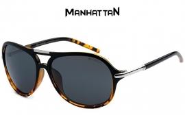 Manhattan Heren Zonnebril met Zwart en Geel Frame
